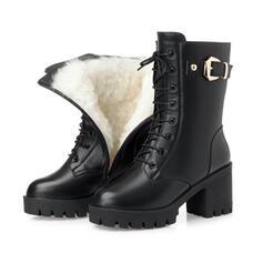 Kvinnor PU Cone Heel Halva Vaden Stövlar Martin Stövlar Klackar rund tå med Zipper Bandage Solid färg skor