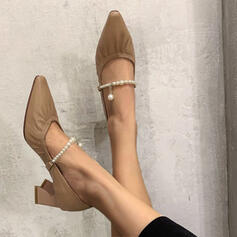 Women's Leatherette Chunky Heel Pointed Toe shoes
