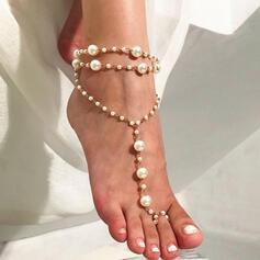Charmen Legering med Oäkta Pearl Strand smycken Fotlänk