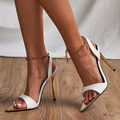 Women's PU Stiletto Heel Pumps Peep Toe With Lace-up Hollow-out shoes