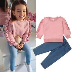 2 stycken småbarn flicka Rufsar Solid Jeans Bomull Komposition