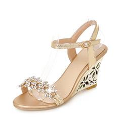Kvinnor PU Kilklack Sandaler Pumps Kilar Peep Toe Slingbacks med Strass skor