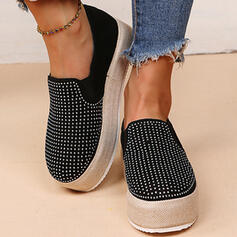 Women's PU Flat Heel Flats Low Top Round Toe Slip On With Rhinestone Solid Color shoes