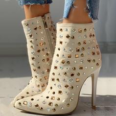Kvinnor PU Stilettklack Halva Vaden Stövlar Spetsad tå med Strass Zipper skor