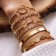 Charming Link & Chain Alloy Jewelry Sets Bracelets 6 PCS