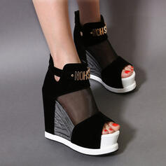 Women's Suede Wedge Heel Sandals Pumps Wedges Peep Toe Heels Round Toe With Stitching Lace Zipper Solid Color shoes