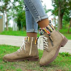 Kvinnor Microfiber Låg Klack Boots Martin Stövlar rund tå med Zipper Bandage Skarvfärg skor