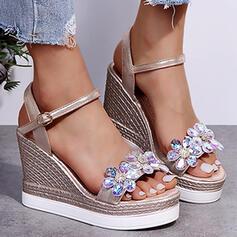 Women's Microfiber Wedge Heel Sandals Platform Wedges Peep Toe Heels With Crystal Buckle shoes