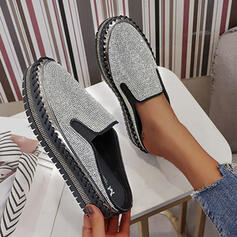 Women's Leatherette Rhinestone Flat Heel Flats Low Top With Rhinestone Elastic Band shoes