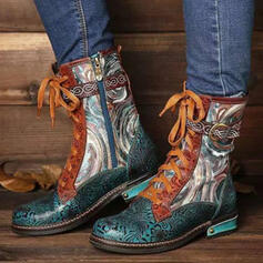 Women's PU Chunky Heel Martin Boots Round Toe With Zipper Lace-up Splice Color Floral Print shoes