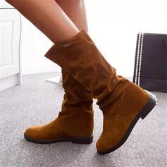 Kvinnor Mocka Flat Heel Halva Vaden Stövlar Snökängor rund tå med rynkad Solid färg skor