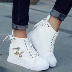 Women's Leatherette Wedge Heel Boots High Top With Zipper Lace-up shoes