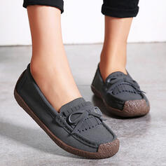 Women's Suede Flat Heel Flats Round Toe Slip On With Bowknot Tassel shoes