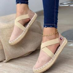 Women's PU Flat Heel Flats Low Top Round Toe Slip On With Bandage Crisscross shoes