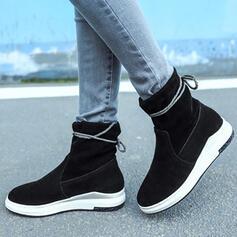 Kvinnor Konstläder Flat Heel Boots rund tå med Zipper skor