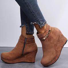 Kvinnor Mocka Kilklack Boots med Zipper skor