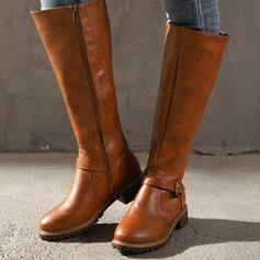 Kvinnor PU Flat Heel Stövlar Knäkickkängor rund tå med Spänne Solid färg skor