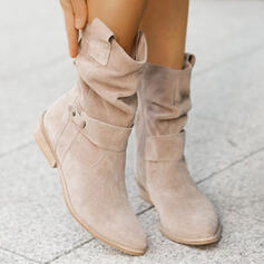Women's Suede Chunky Heel Boots Mid-Calf Boots Pointed Toe With Buckle Zipper Solid Color shoes