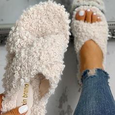 Kvinnor Tyg Flat Heel Tofflor med Päls Andra skor