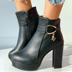 Women's PU Chunky Heel Platform Ankle Boots Round Toe With Buckle Velcro Solid Color shoes