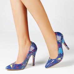Kvinnor PU Stilettklack Pumps Spetsad tå med Skarvfärg Färgblock Randig skor