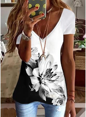 Color Block Floral Print V-Neck Short Sleeves T-shirts