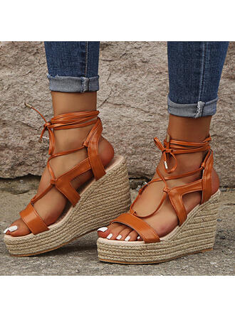 Women's Cloth Wedge Heel Sandals Platform Wedges Peep Toe Heels With Lace-up Hollow-out shoes