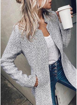 Knit Long Sleeves Plaid Slim Fit Coats