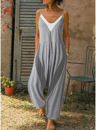 Color-block Spaghetti Strap Sleeveless Casual Vacation Jumpsuit