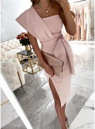 Solid Short Sleeves Sheath Knee Length Party/Elegant Dresses