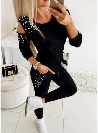 Solid Drawstring Casual Sexy Sporty Pants Suits
