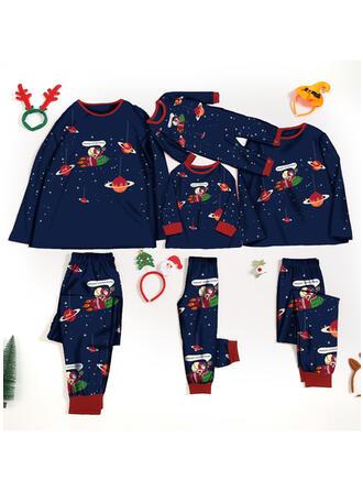 Brev Tecknad Matchande familj Jul Pyjamas