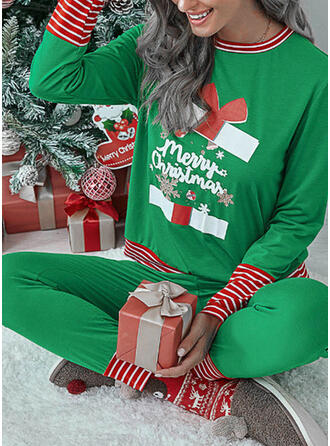 Striped Print Plus Size Christmas Casual Suits
