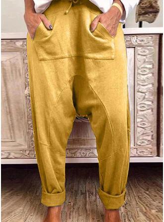 Pockets Shirred Drawstring Casual Sporty Pants