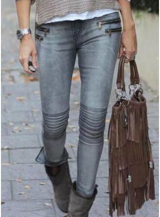 fickor Shirred Extra stor storlek Lång Sexig Mager Byxor Denim & Jeans