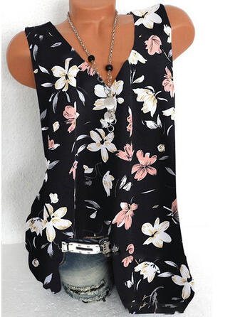 Floral Print V-Neck Sleeveless Tank Tops
