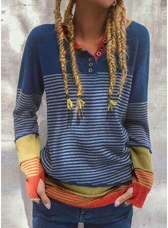 Color Block Striped V-Neck Casual Sweaters