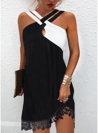 Lace/Color Block Sleeveless Shift Above Knee Elegant Dresses