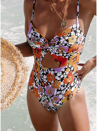 Print V-Neck Boho One-piece Swimsuits