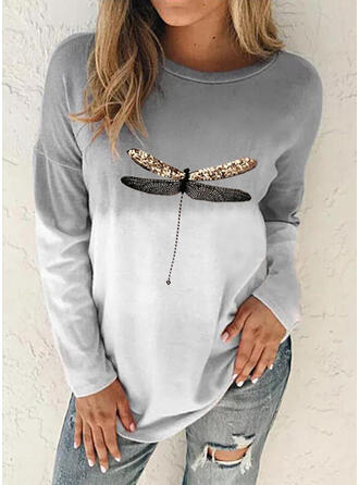 Print Gradient Animal Round Neck Long Sleeves Sweatshirt