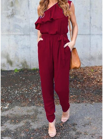 Solid One Shoulder Sleeveless Elegant Jumpsuit