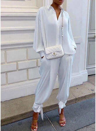 Solid Elegant Casual Plus Size Blouse & Two-Piece Outfits Set