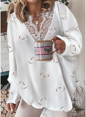 Print Heart Lace V-Neck Long Sleeves Sweatshirt
