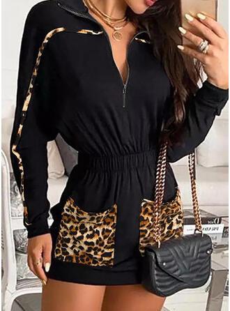 Print/Leopard Long Sleeves Bat Sleeve Bodycon Above Knee Casual Dresses