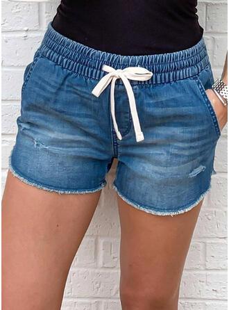 Solid Casual Vintage Plus Size Pocket Shirred Drawstring Pants Shorts Denim & Jeans