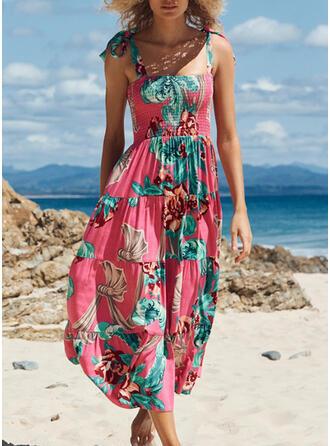 Print Sleeveless A-line Skater Casual Midi Dresses