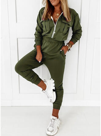 Solid Round Neck Long Sleeves Casual Plus Size Jumpsuit