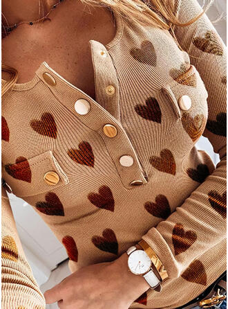 Print Heart V-Neck Long Sleeves Button Up Casual Knit Blouses