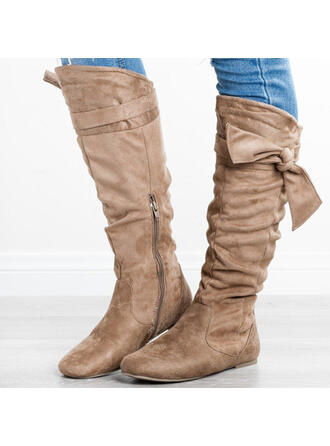 Women's Suede Flat Heel Knee High Boots Round Toe With Zipper Lace-up shoes