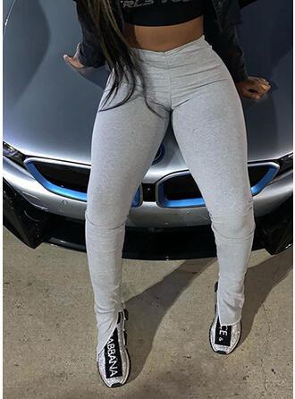 Solid Pockets Casual Skinny Leggings